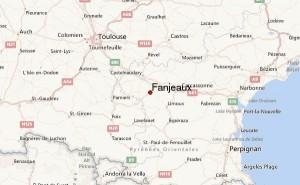 Kart med Toulouse og Fanjeaux