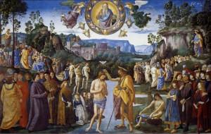 Baptism of Jesus, Perugino-Pinturicchio, c. 1482. Fresco, Sistine Chapel