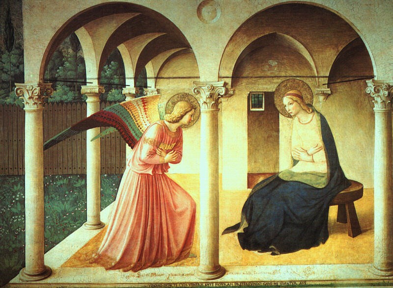 Fra Angelico, The Annunciation, c. 1438-47, fresco,  (Convent of San Marco, Florence)